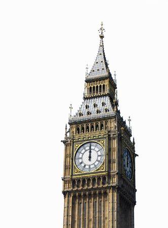 o�??clock: las 12 en punto. Big Ben, Londres, Reino Unido.