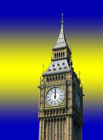 oclock: 12 oclock on Big Ben, London Stock Photo