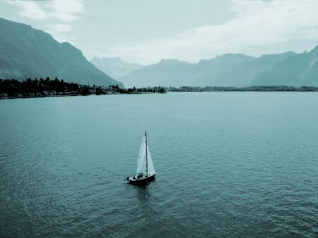 View of Lake Geneva from Shilonsky castle tower. Montreux. Switzerland.