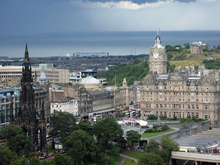 Aerial view of Edinburgh, the capital of Scotland, from the famous Edinburgh castle. photo