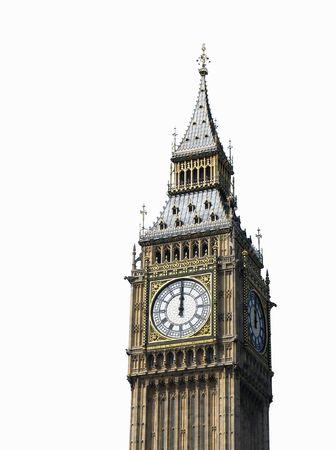 12 oclock. Big Ben, London, UK. Isolated on white. Stock Photo