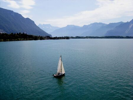 View of Lake Geneva from Shilonsky castle tower. Montreux. Switzerland. photo