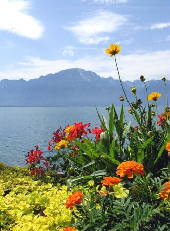 View of the Alps and Lake Geneva from the embankment in Montreux. Switzerland.