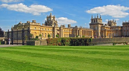 Blenheim Palace - Marlborough Estate, Churchills birthplace. England. Blenheim Palace was a gift from Queen Anne to John Churchill, the first Duke of Marlborough, for his victory at the Battle of Blenheim in 1704.