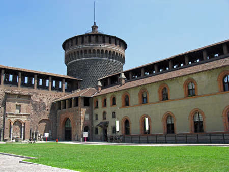 Tower of Sforzesco Castle, Milan, Italy. One of the most famous and much beloved monument of the city.