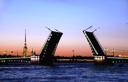 st petersburg: White nights. View of Neva river and raised Palace Bridge in St.Petersburg, Russia.