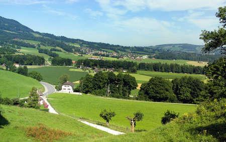Gruyere region of Switzerland - homeland of Swiss cheese - in summer  View from the village of Gruyere   Stock Photo