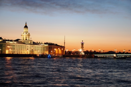 White nights of St.Petersburg.  View of the Neva river and Curiosity Chamber. St.Petersburg, Russia.