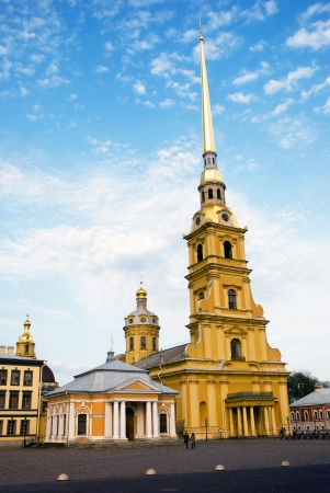 Peter and Paul Church in Peter and Pauls Fortress 122.5 meters high. It is the tallest architectural construction in Petersburg,Russia photo
