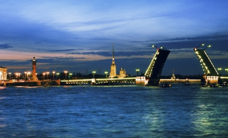 White nights  View of Neva river and raised Palace Bridge in St Petersburg, Russia