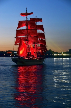 St Petersburg and yacht at night