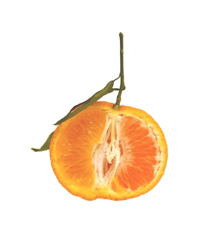 Half of  tangerine with leaf  Isolated on white  Stock Photo