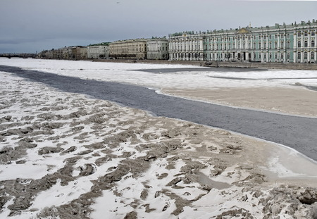 Winter Palace and Neva River in early spring, St Petersburg, Russia