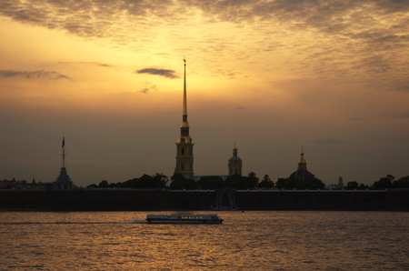 Peter and Paul Fortress, symbol of St  Petersburg, Russia on a white night  famous natural phenomenon