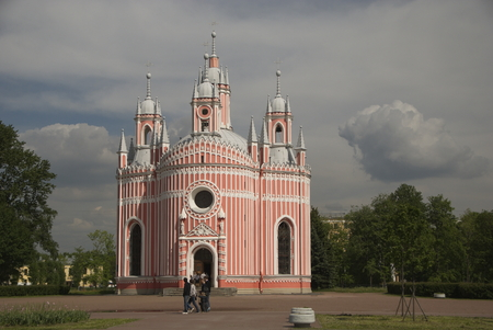 Chesme Church - Church of St John the Baptist -  built in Gothic Revival style in 1780  The church and Chesme Palace were the earliest Neo-Gothic constructions in the St Petersburg area, Russia