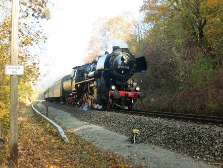 Steam-guided passenger train Banco de Imagens