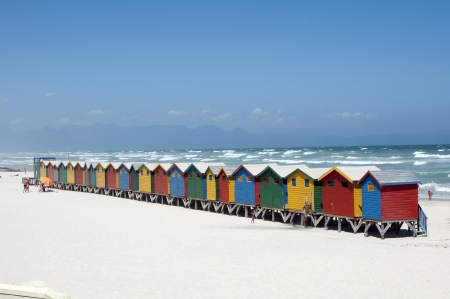Beach huts at Muizenberg Cape Town South Africa photo