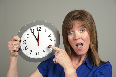12 o'clock: Woman with surprised expression holding a clock