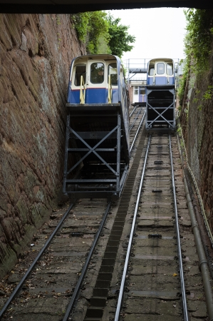 counterbalanced: Bridgnorth Cliff Railway passenger car transports passengers on the steepest railway in Britain Bridgnorth Castle Hill Railway Company Editorial