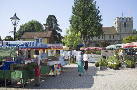 hants: Farmers Market on Petersfield Town Square Hants UK
