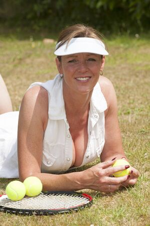 Portrait of a female tennis player Stock Photo