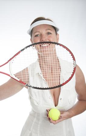 Female tennis player holding racquet Stock Photo - 21000196