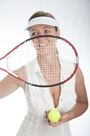 Female tennis player holding racquet Stock Photo - 21000197