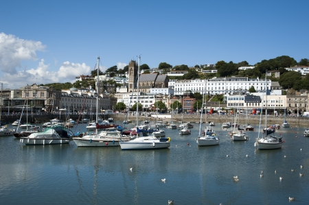 Torquay,Devon UK the inner harbour and town centre area of this popular seaside resort