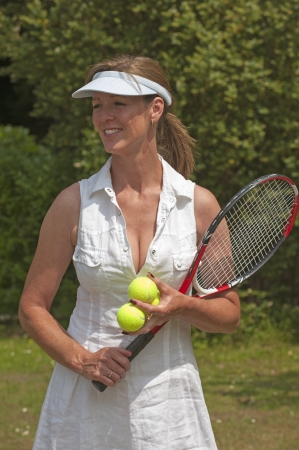 fuller figure: Portrait of a female tennis player Stock Photo