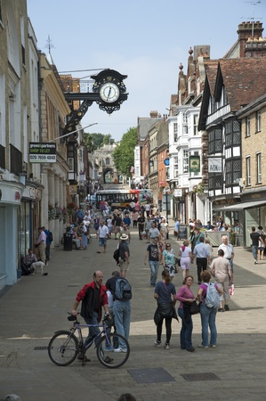 winchester: Winchester High Street shoppers and shops Editorial