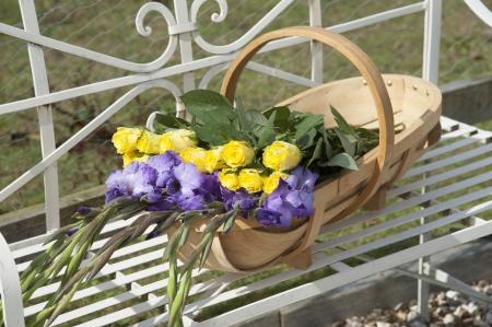 freshly picked: Wooden garden trug and freshly picked flowers