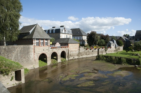 River Selune famous for salmon fishing flows through Ducey in Normandy region France