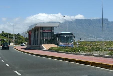 Cape Town bus stop at Milnerton Editorial