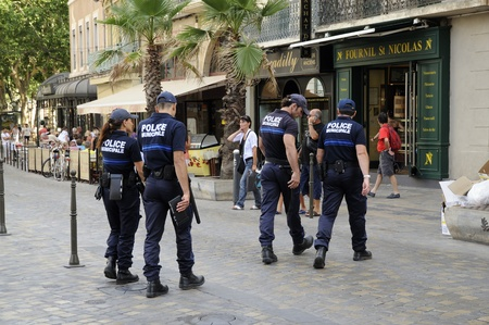 french woman: Police Municipale squad in Narbonne  France