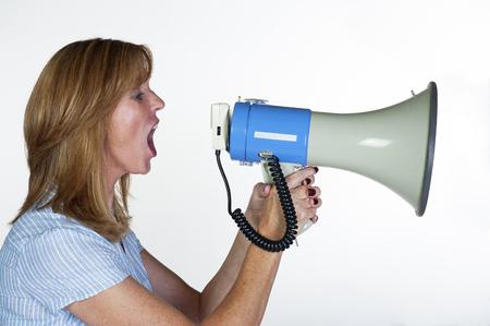 loud hailer: Woman using a megaphone or loud hailer