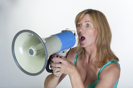 summoning: Woman using a megaphone