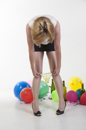 removing: Woman removing underwear at office party