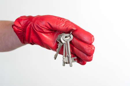 doorkey: Bunch of keys in a woman s gloved hand