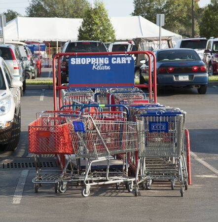 Shopping cart return area in a supermarket car park