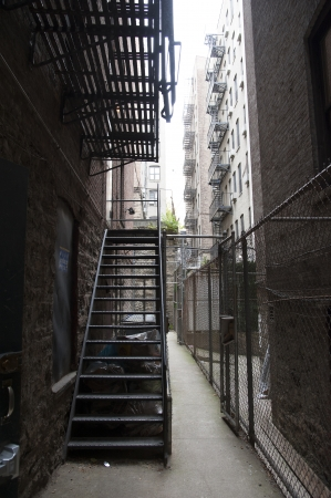 Fire escape stairs New York buildings USA