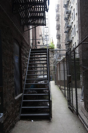 Fire escape stairs New York buildings USA photo