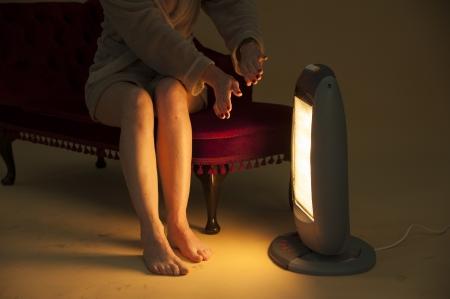 Frau halten warm durch ein elektrisches Feuer Standard-Bild - 24142003