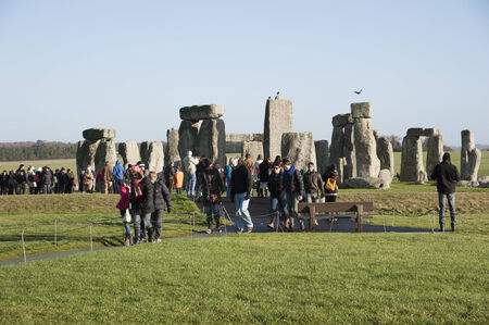 wiltshire: Stonehenge visitors at the historic stones in Wiltshire UK