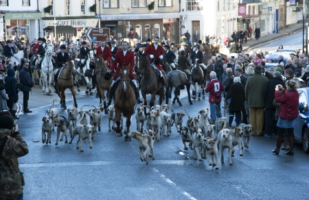boxing day: Boxing Day East Sussex and Romney March Hunt meeting in Battle a historic English town