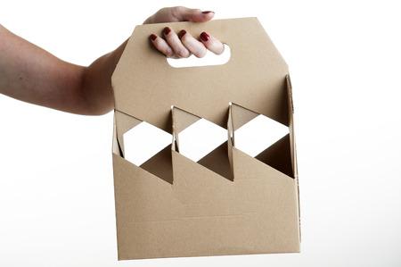 Kartonnen wijnfles carrier Stockfoto