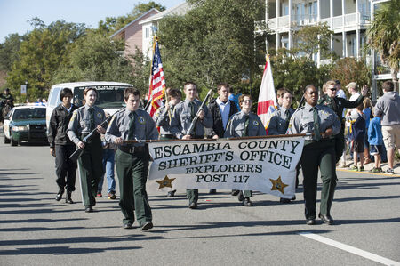 sheriffs: Escambia County Sheriffs Office Explorers march on Veterans Day parade Pensacola Florida USA