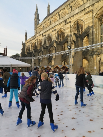 winchester: Ice skating at Winchester Cathedral Hampshire UK