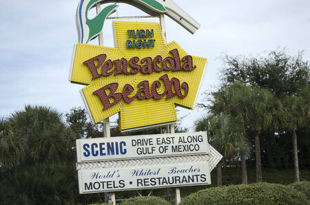 pensacola beach: Roadside sign for Pensacola Beach Florida USA Editorial
