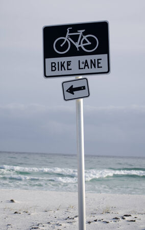 pensacola beach: Bike Lane sign on Pensacola Beach Florida USA Stock Photo