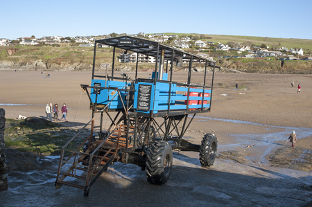 burgh: Sea tractor used to transport hotel guests to and from Burgh Island hotel South Devon UK Editorial
